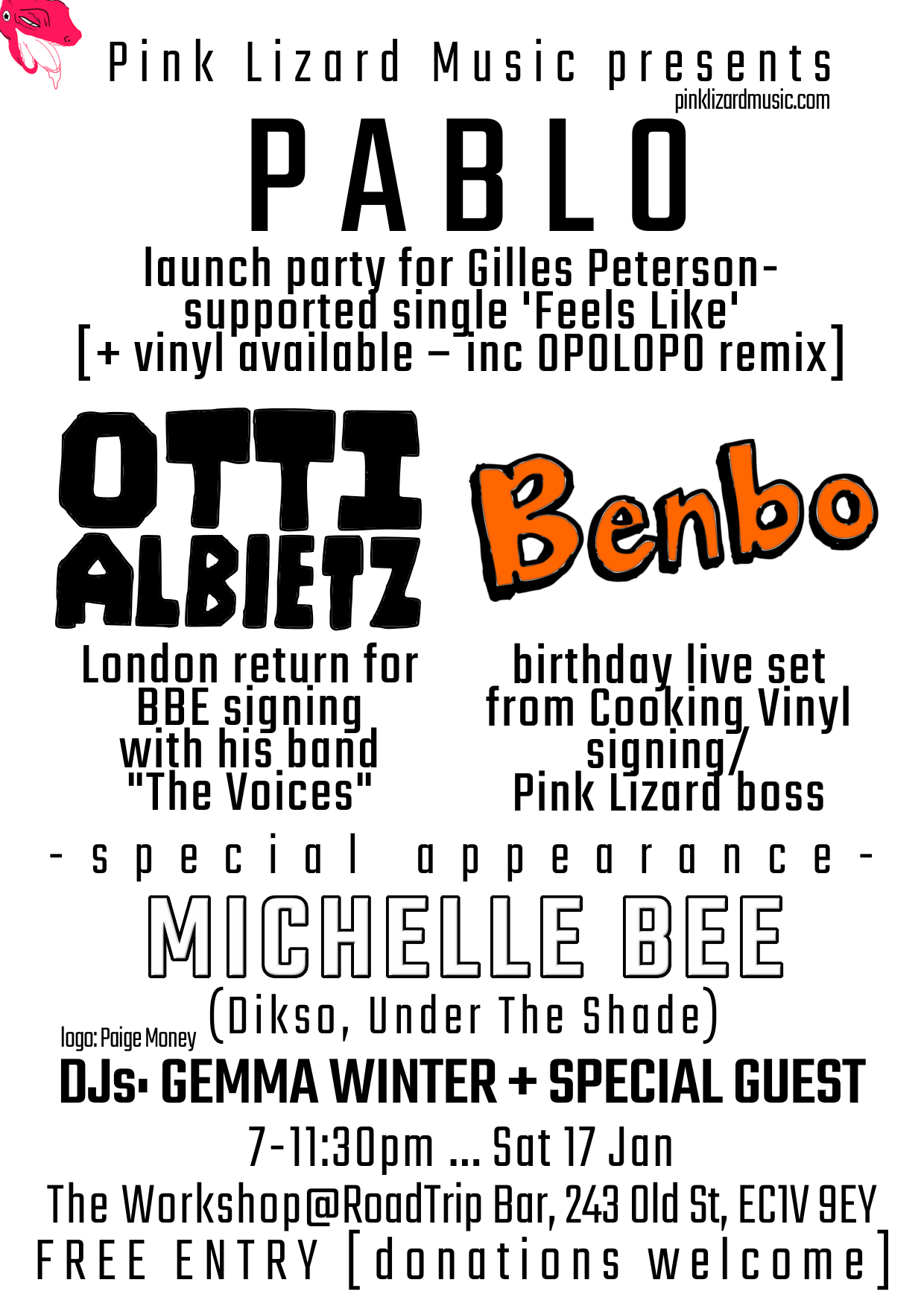 Pink Lizard Music presents: PABLO – launch party for Gilles Peterson-supported single 'Feels Like' [+ vinyl available – inc OPOLOPO remix], OTTI ALBIETZ – London return for BBE signing with his band